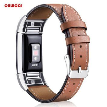 CREYLD1 Replacement Fitbit Charge 2 Bands Leather Straps Band Interchangeable Smart Fitness Watch Band With Stainless Frame for Charge 2