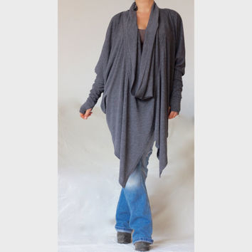 Plus Size Wide Loose Tunic / Asymmetric Turtle V Neck Style Top/ XXL XXXL Sweater/ Charcoal Grey Sweater /CH018