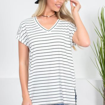 Stephanie Striped Top | Ivory