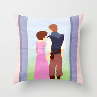 Tangled - Rapunzal & Flynn Throw Pillow by Jessica Slater Design & Illustration | Society6