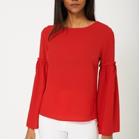 Volume Sleeve Blouse in Red Ex Brand