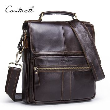 CONTACT'S Brand 2017 NEW Genuine Leather Shoulder Bag Men Messenger Bags Zipper Design Men Commercial Briefcase CrossBody Bag