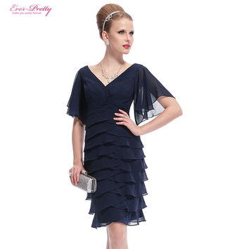 Blue Short Cocktail Dresses Ever Pretty Double V-neck Butterfly Sleeve Sexy 2016 HE03903 Plus Size Special Occasion Dresses