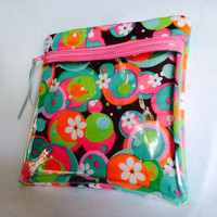 "Vinyl see through padded zippered case is versatile and is 7 1/2"" x 7 3/4"". Teal pink green brown white cotton fabric."