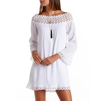 OFF-THE-SHOULDER CROCHET TRIM SHIFT DRESS