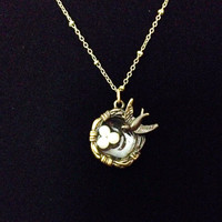 Bronze bird nest necklace