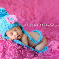 Cotton Candy Earflap Hat - Gender Neutral with removable pink flower