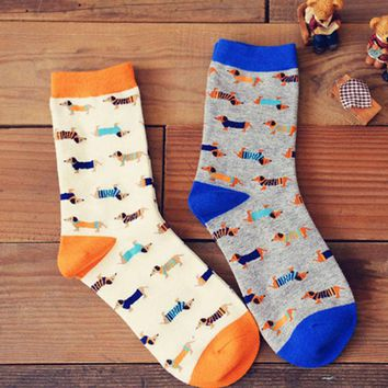 Unisex Lemon Dog Print Socks