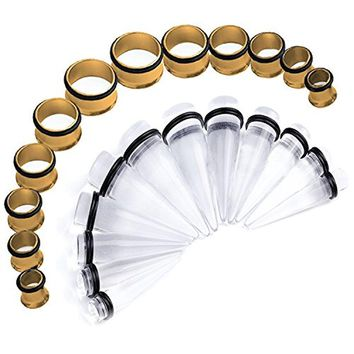 BodyJ4You Stretching Kit Clear Taper Stainless Steel Goldtone Tunnel Plug 00G-20mm Big Gauges Set 24PCS