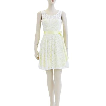 Solid Sleeveless Lace Layered Short Dress Size S M L FO6084
