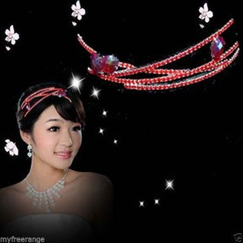 Bridal Rhinestone Crystal Red Clear headpiece Headdress Crown Tiara HR142