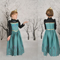 Girls Kids Princess Frozen Elsa Anna Long Sleeve Cosplay Party Fancy Gown Dress = 1945854596