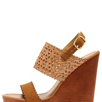 Daisy Chains Natural Tan Wedge Sandals
