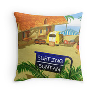 'Costa Del Sol Hippy Van ' Throw Pillow by likelikes