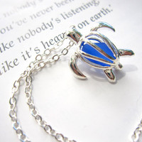 Cute Turtle Necklace with royal blue Sea Glass - Perfect nautical gift for a beach lover friend FREE SHIPPING