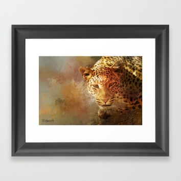 Spotted Leopard Framed Art Print by Theresa Campbell D'August Art