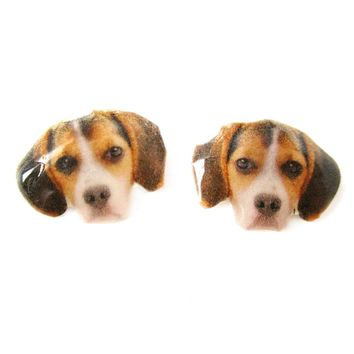 Realistic Beagle Face Shaped Animal Resin Stud Earrings | Made To Order | Handmade