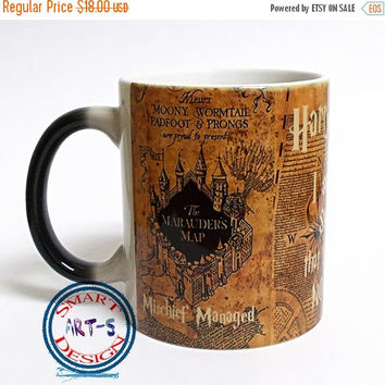 ON SALE 20% OFF Harry Potter Mug 4 Color Changing Mug Harry Potter Cup Magic Mug Marauders Map Coffee Mug Magical Mug Marauder's Map Art Har