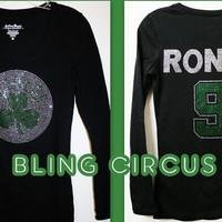 Boston Celtics Logo Bling Sparkle Top with ANY name and number in back