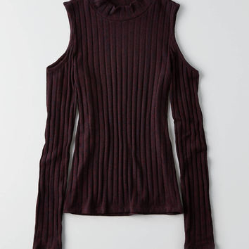 AEO Soft & Sexy Cold Shoulder Top , Burgundy