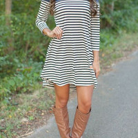 Loose Stripe Long Sleeve Dress