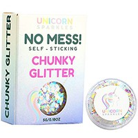 Iridescent Chunky Glitter | Self-Sticking, Aloe Vera Based, No Glitter Primer Needed | Cosmetic Glitter Gel for Face and Body | by Unicorn Sparkles | Festival & New Years Eve Makeup