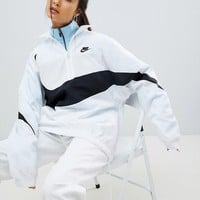 Nike Vaporwave Half Zip Track Jacket In White With Large Swoosh at asos.com