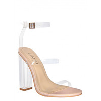 Darcia Nude Patent Clear Strap Heels : Simmi Shoes