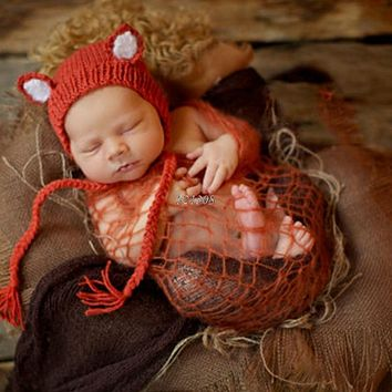 Infant Newborn Photography Props Cute Fox Baby Hat Crochet Accessories Handmade