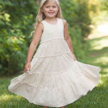 Peaches 'n Cream Toddler Lace Maxi Dress