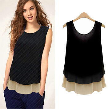 Black And Cream Sleeveless Split-Back Layered Top