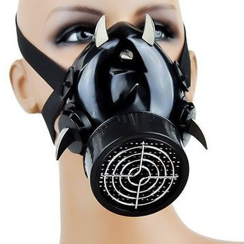 Devil Horn Industrial Spike Gas Mask Single Respirator Cyber Goth Rave Halloween
