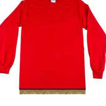 Plain Red Long Sleeve T-shirt With Fringes