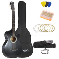 "Black Ammoon 38"" 6-String Cutaway Folk Acoustic Guitar with Bag"