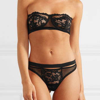Else - Petunia stretch-mesh and corded lace underwired strapless bra