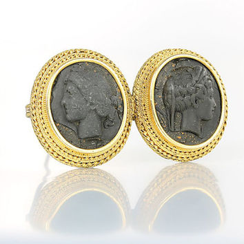 Antique Lava rock Double Cameo Brooch, High Relief  14k Gold cameo jewelry
