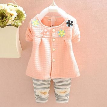 Spring autumn Kids Clothes Girl Clothing sets Children Outfits Long sleeve Fleece Sweatshirt + Legging Kids Children Clothes Set