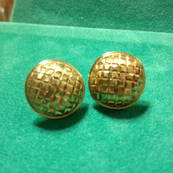 10K Button Earrings Gold Vintage Yellow Etched Diamond Cut YG Estate Stamped Jewelry Bridal Gift Women Girl Hammered Polished Studs Post