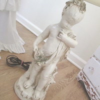 Vintage Lamp * Shabby Chic * French Cottage * Chalkware * Plaster * Little Cherub Girl