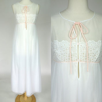1980s white negligee, sheer eyelet long maxi slip night gown lingerie, medium, size 8