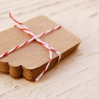 25 Brown Kraft Paper Tags - Christmas wrapping gift tags