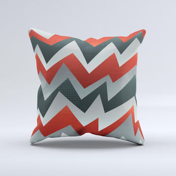 Abstract Red, Grey and White ZigZag Pattern ink-Fuzed Decorative Throw Pillow
