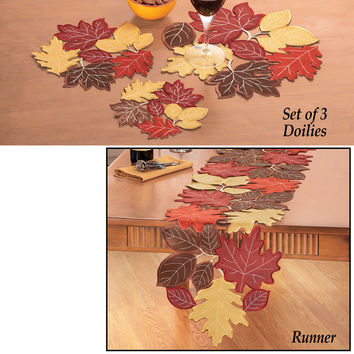 Faux Suede Fall Leaves Table Linens