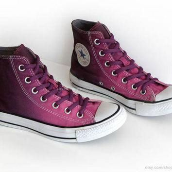 DCKL9 Ombr¨¦ dip dye Converse All Stars, mulberry pink, wine red, upcycled vintage sneakers,