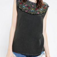 Ecote Acid-Wash Embroidered Muscle Tee