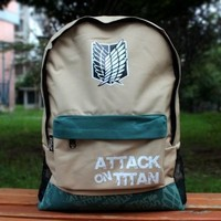 Attack on Titan Shingeki No Kyojin Cosplay School backpack bag khaki