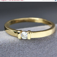 Fall Sale 10K Yellow Gold Ring - Moissanite Ring - Bar Ring - Moissanite Jewelry - Gemstone Ring - Stacker Ring - Engagement Ring - Promise