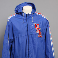 70s ADIDAS Nylon WINDBREAKER / USA Patch Hooded Nylon Jacket, l - xl