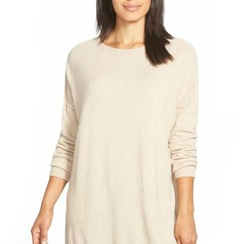 Women's Eileen Fisher Bateau Neck Cashmere Tunic Sweater,