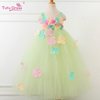 2017 New Flower Fairy Girls Handmade Tutu Dress For 2-12 Years Children Wedding Party Prom Custom Flower Girl Dresses